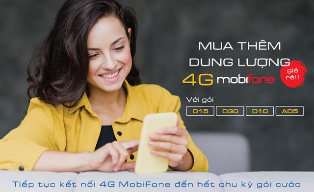 Mua thêm dung lượng 4G MobiFone